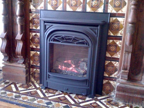 Victorian parlor fireplace