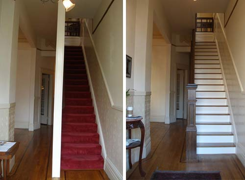 Victorian staircase before and after