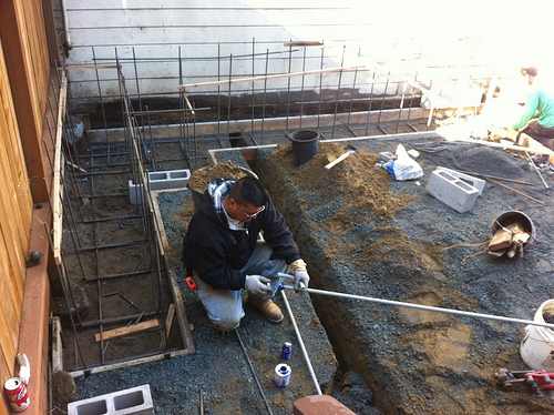 Laying PVC pipe for underground electrical
